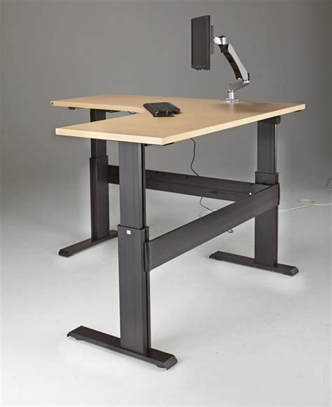 sit stand electric desk newheights eficiente lt series l shaped electric sit