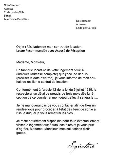 Exemple De Lettre Quand On Quitte Un Logement Modele Lettre Resiliation Bail 3 Mois Preavis