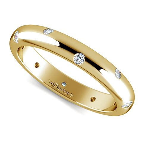 Wedding Rings Bands by Inset Wedding Ring In Yellow Gold 3mm