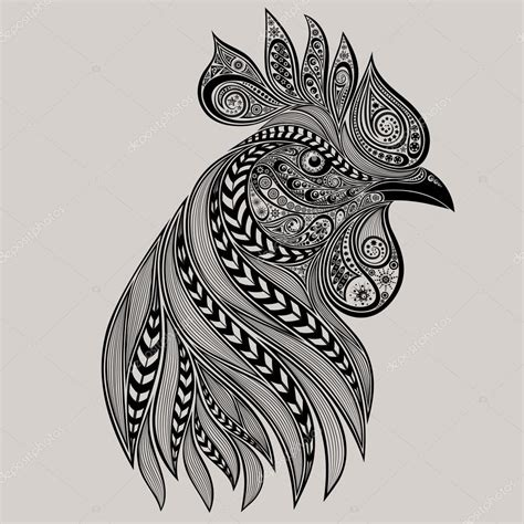 abstract vector rooster tattoo new year 2017 stock
