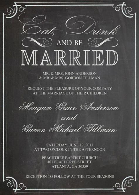 Hochzeitseinladung Englisch eat drink and be married shabby chic vintage chalkboard