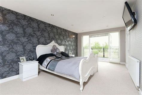 black silver white bedroom photo of black grey silver white metallic bedroom with feature wall designs
