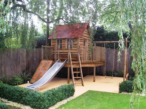 kids backyards children play house adventure like the swing slide and