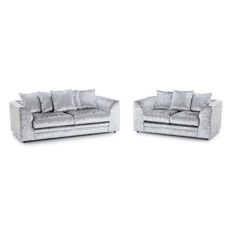 velvet 2 seater sofa michigan crushed velvet 3 seater and 2 seater sofa silver