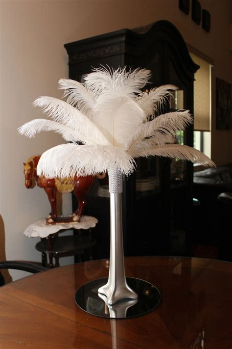 Eiffel Tower Vases Ostrich Feathers by Ostrich Feather Centerpiece 16 Silver Eiffel Tower Vase