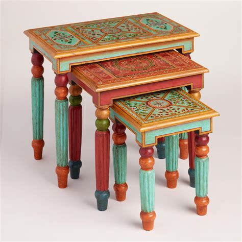 Painted Wood Nesting Tables Set Of 3 Market
