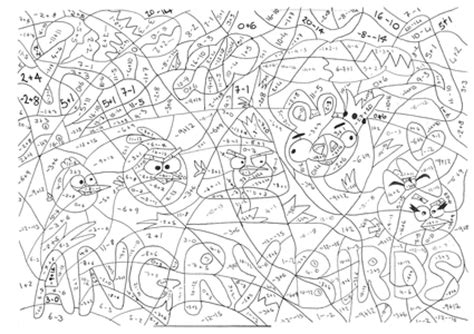 Angry Birds Negative Numbers Calculated Colouring By Coloring Pages Ks2