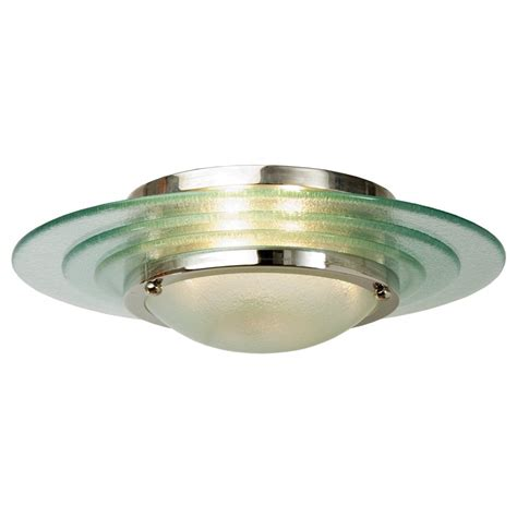 Flush Glass Ceiling Lights Flush Fitting Deco Low Ceiling Light Circular Glass With Chrome