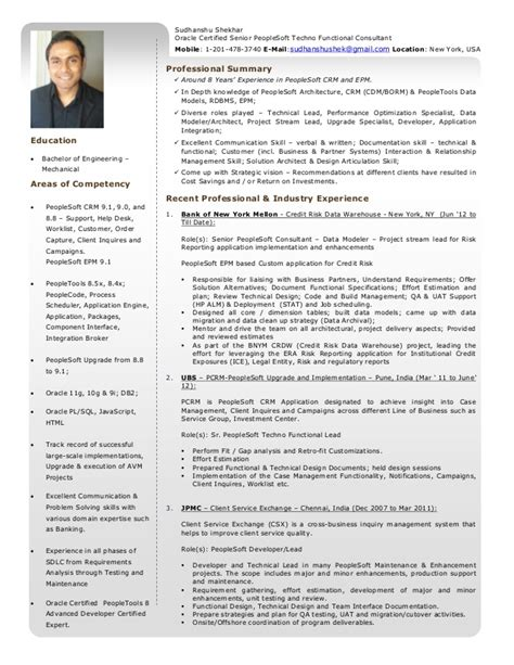 resume sudhanshu shekhar oracle certified senior peoplesoft techn