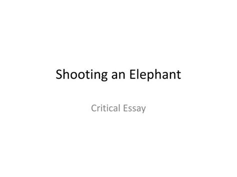 Shooting An Elephant Essay by Shooting An Elephant Critical Analysis Essay Critical Analysis Of George Orwell S Essay Shooting An