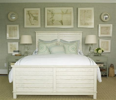 Gray Green Grasscloth Cottage Bedroom Phoebe Howard Beachy Bedroom Furniture