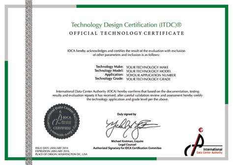 design certificate authority technology certification international data center