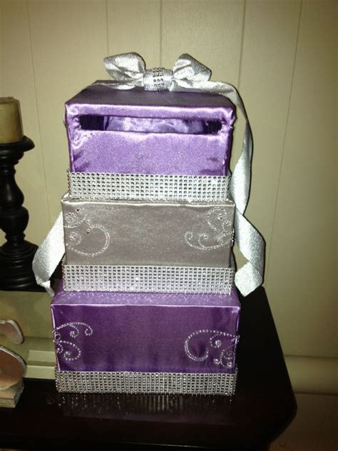 diy card box diy card box revised purple and silver with some bling