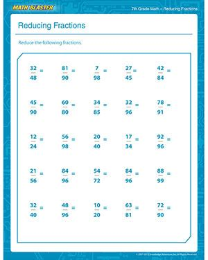 Fraction Practice Worksheets 7th Grade by Reducing Fractions Printable Math Pdf Worksheet For 7th