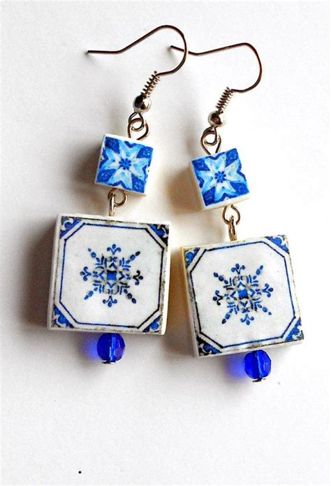 azulejo earrings portugal antique azulejo tile replica earrings figueira