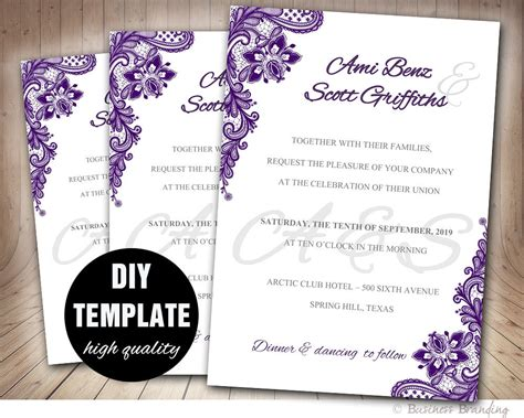 Lace Purple Wedding Invitation Diyaubergine Wedding Wedding Invitation Sles Free Templates