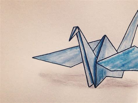 Origami Bird Drawing - origami crane drawing archives pencil drawing collection