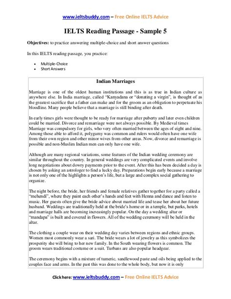 ielts sample reading  indian marriages
