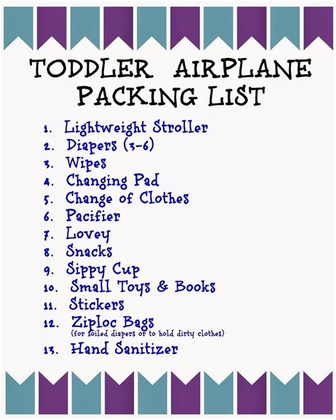 printable toddler packing list flying with children tips and printable packing lists for