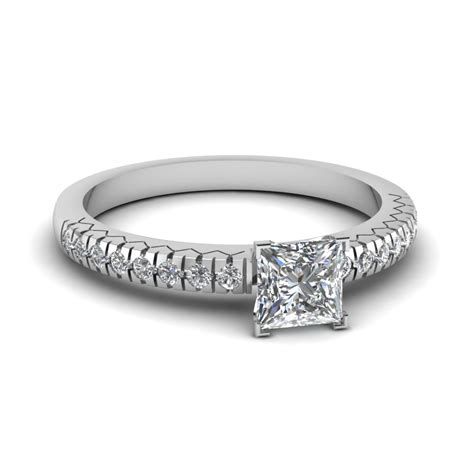 simple 1 ct princess cut pave engagement ring