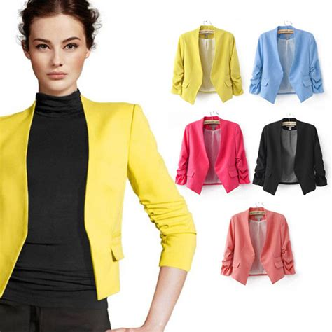Blazer Fashion Korea fashion korea womens color slim casual suit jacket blazer coat black ebay