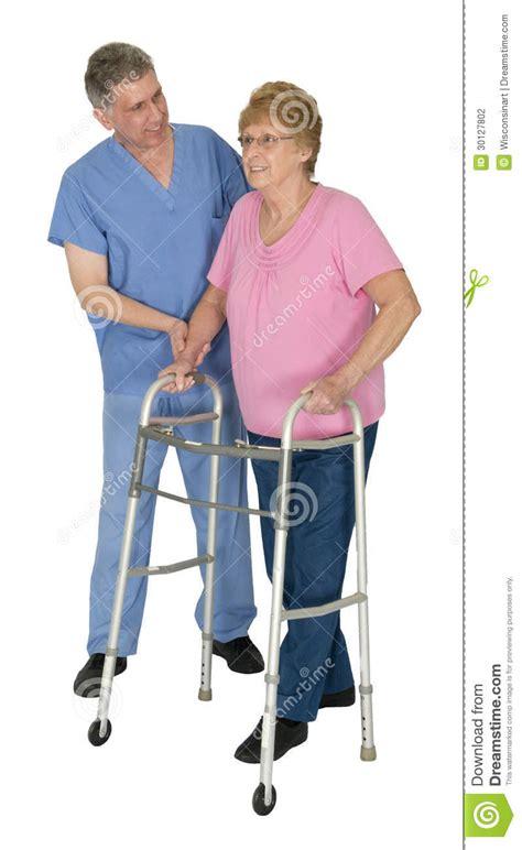 Stock United Healthcare Nurse Physical Therapy Mature Senior Elderly Woman Stock