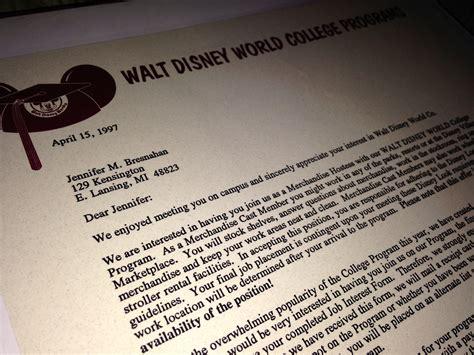 Disney College Program Acceptance Letter disney college program friends for adventures