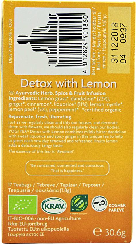 Lemon Tea Detox Ingredients yogi tea detox with lemon tea photo gallery at zumub