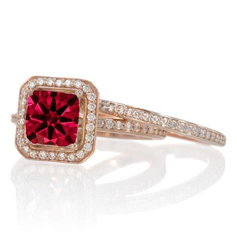 2 carat beautiful ruby and halo wedding ring set