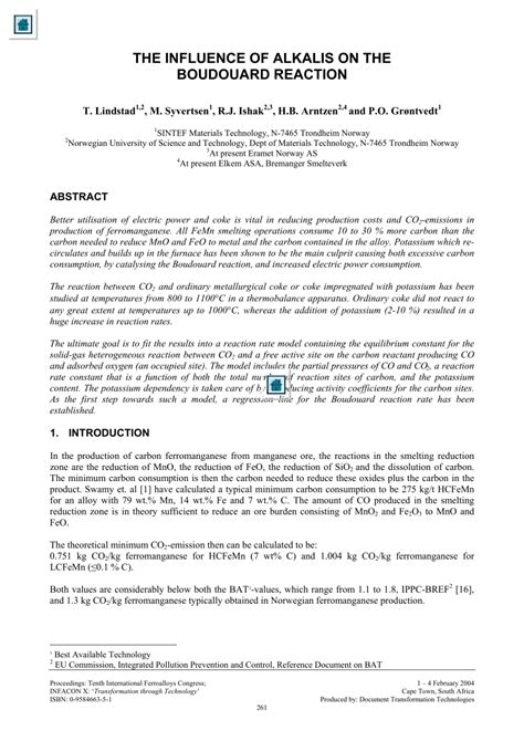 (PDF) THE INFLUENCE OF ALKALIS ON THE BOUDOUARD REACTION