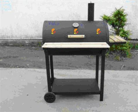 Backyard Grill Application Barbecue Grill Barrel Style W Front Tray Wood Side