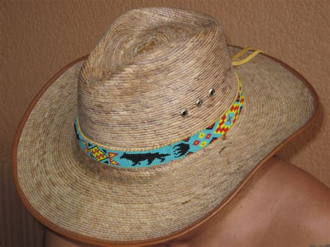 indian beaded hat band american style inspired beaded wolf hat band on tanned