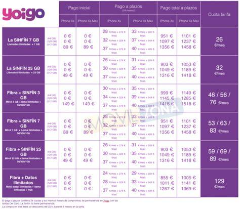 precios iphone xs y iphone xs max en yoigo