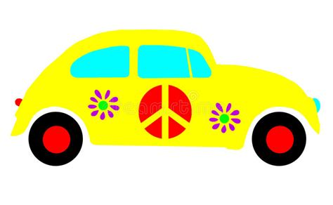 volkswagen hippie clipart vw beetle bug hippie peace symbols isolated stock