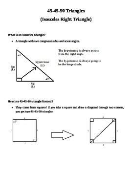 45 45 90 Triangle Worksheet by Notes On 45 45 90 Triangles Student Special Right
