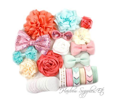 mint and coral headband baby headband lace baby coral and mint headband kit 12 headbands baby shower station