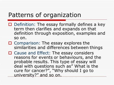 organizational pattern questions essay writing elements of the essay ppt download