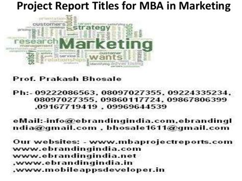 Mba Project Report On Analysis Of Advertisement by Project Report Titles For Mba In Marketing