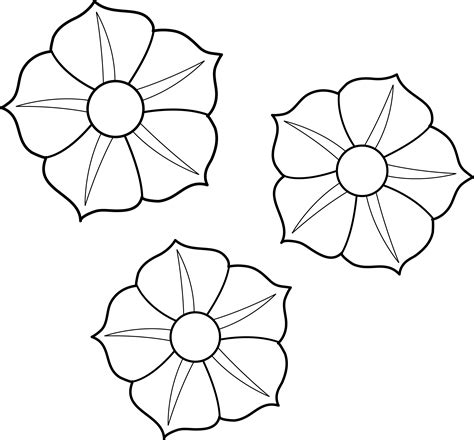 clipart of flowers coloring pages colorable petunia flowers free clip