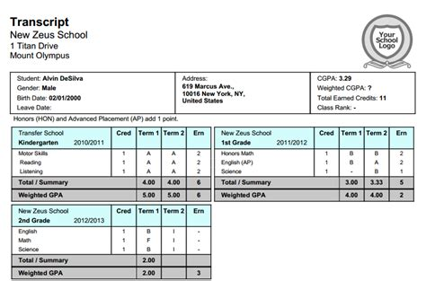 Official Transcript Template by New 2 Semester Transcript With 4 Quarters School