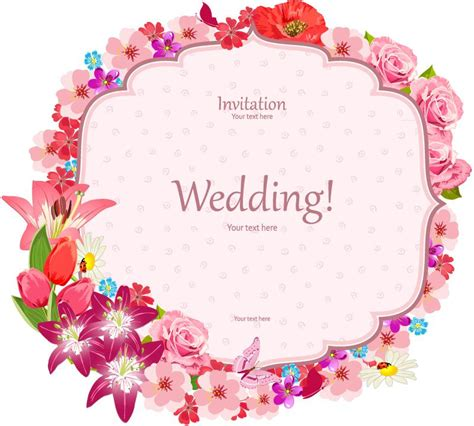 Wedding Border Vector by Flower Border Wedding Invitation Card Vector Eps