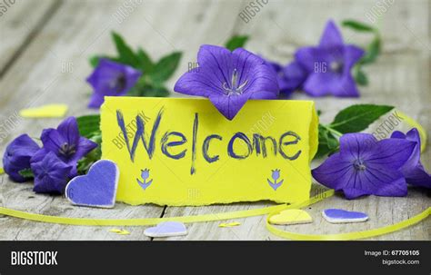 welcome images with flowers welcome note card on wood table image photo bigstock