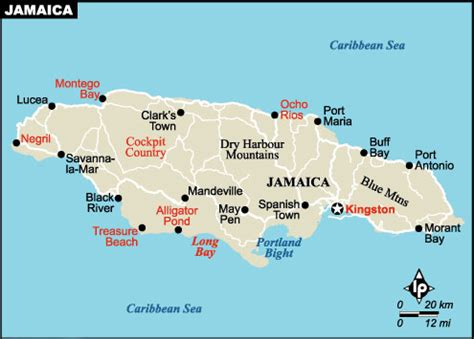 placestours.com jamaica hotels and resorts map of jamaica