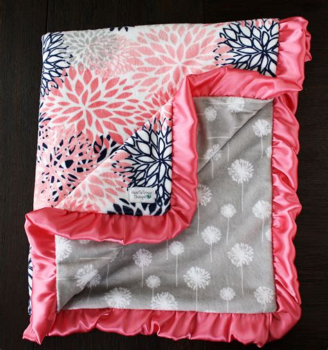 Minky Blankets Minky Blanket Baby Blanket Baby Gift Floral Coral And