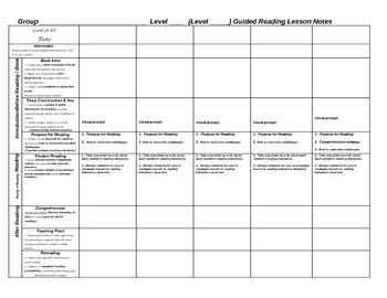 weekly scaffolded guided reading lesson plan template by
