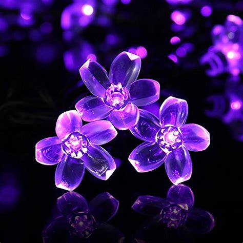 purple string lights luckled flower solar lights 21ft 50 led