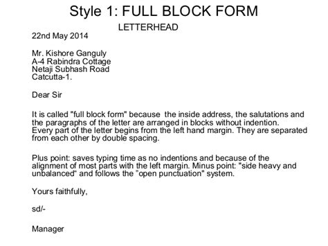 Business Letter Address Block layout of business letters