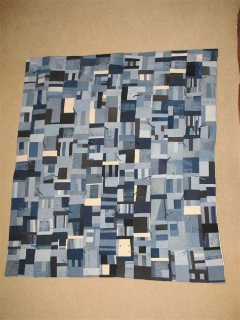 blue jean quilt comforter with ivory fleece backing