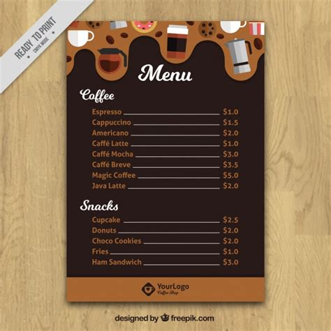 Cafe Templates by Cafe Menu Template Vector Free