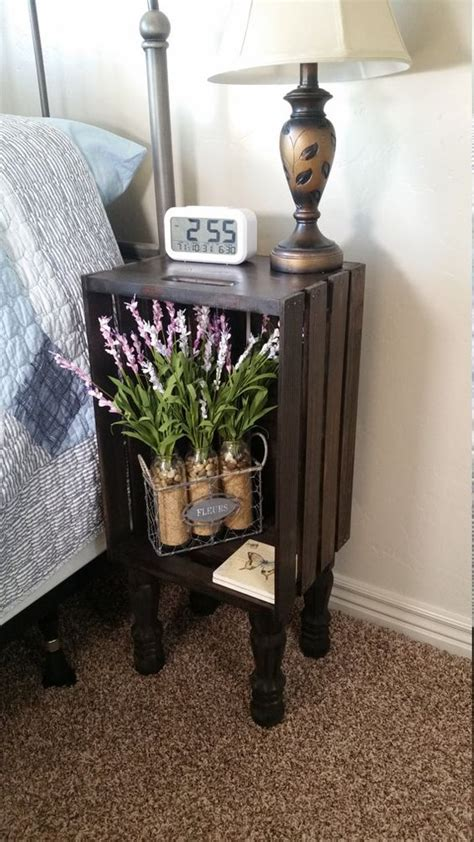wooden crate end table stained wood crate bedside table nightstand end table